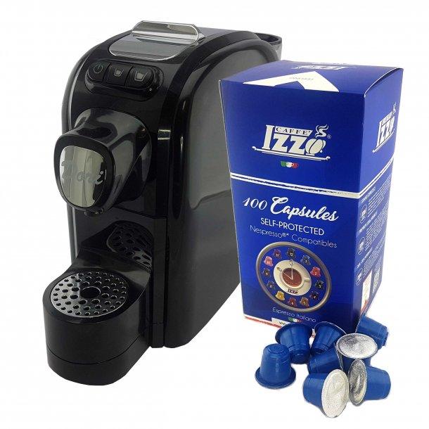 Izzo DORI Kapsel Espressomaskine Sort m. 100 Kapsler