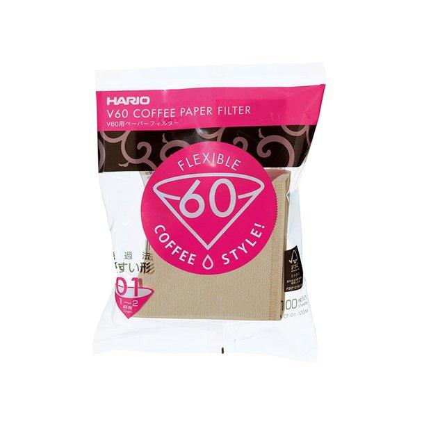 Hario V60 Kaffefiltre Papir Brun 1-kops 100 stk. VCF-01-100M
