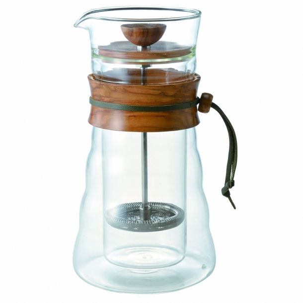 Hario Double Glass Coffee Press Olive Wood 400ml DCG-40-OV