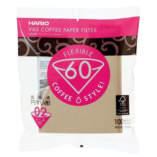 Hario V60 Kaffefiltre Papir Brun 2-kops 100 stk. VCF-02-100M