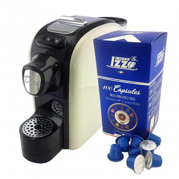 Izzo DORI Kapsel Espressomaskine Hvid m. 100 Kapsler