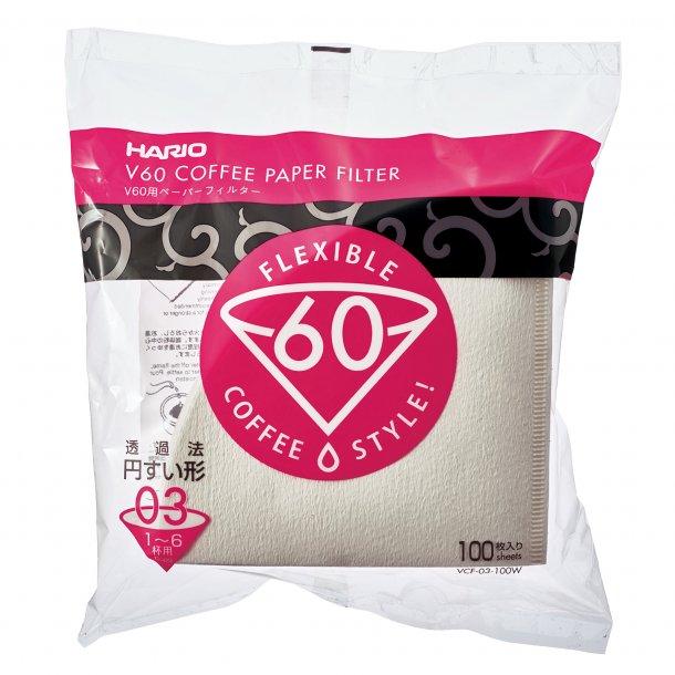 Hario V60 Kaffefiltre Papir Hvid 3-kops 100 stk. VCF-03-100W